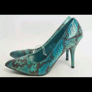 Mossimo Snakeskin Heels Green Vivian Shoes Pumps
